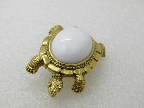 Vintage  White Back Turtle Brooch, 1970's-1980'