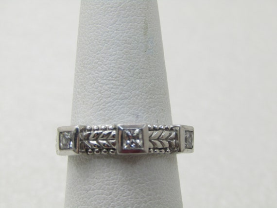 Vintage Judith Ripka Sterling CZ Ring/Band, Stackabe, Sz. 6, 4.50 gr, 4.5 mm