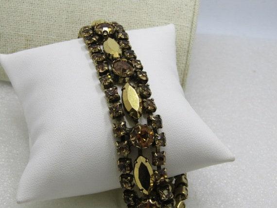 "Vintage Metallic Gold Tone Rhinestone Bracelet, Art Deco, Safety Chain, 6.5"""