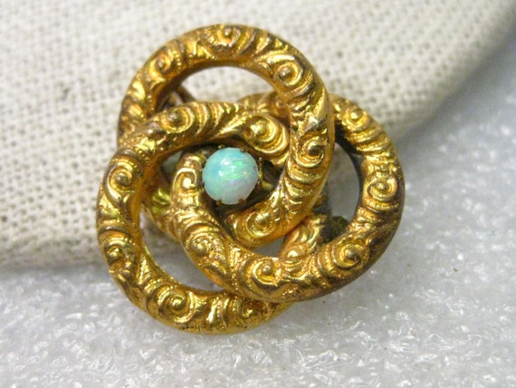 Vintage 10kt Gold Filled? Victorian Repousse Love Knot & Opal Pendant/Brooch Combination