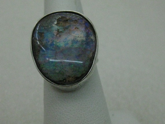 Sterling Silver Australian Boulder Opal Ring, Sz. 6.75, Appx 10.50 CTW