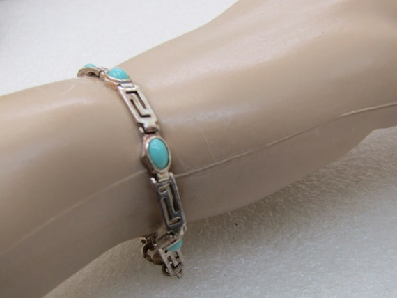 "Sterling Silver Turquoise Glass Bracelet, 7"", Open Link, 4.5mm-5.5mm wide"