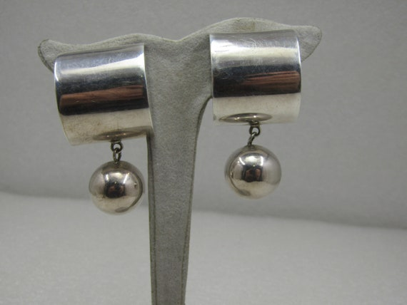 Vintage Sterling Mexican Modernist Clip Drop Earrings, Mexico Signed TC-158