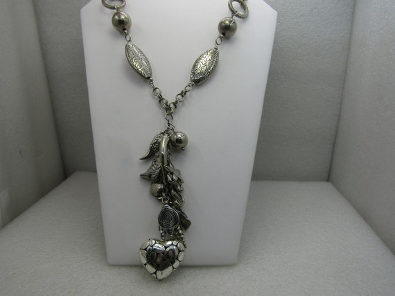 "Vintage Southwestern Mixed Genre Necklace, 26"" with Chunky Charm Drop 5"""