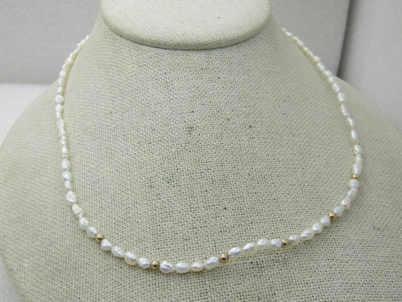 """14kt Freshwater Pearl & Beaded Necklace, 17.5"""""""
