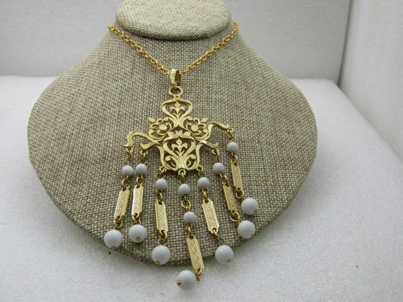 "Vintage Victorian Themed Necklace, White Beaded Drops, 24"", Gold Tone"