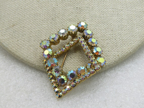 Vintage Aurora Borealis Rhinestone Brooch, Layered and Domed, 1940's, 2""