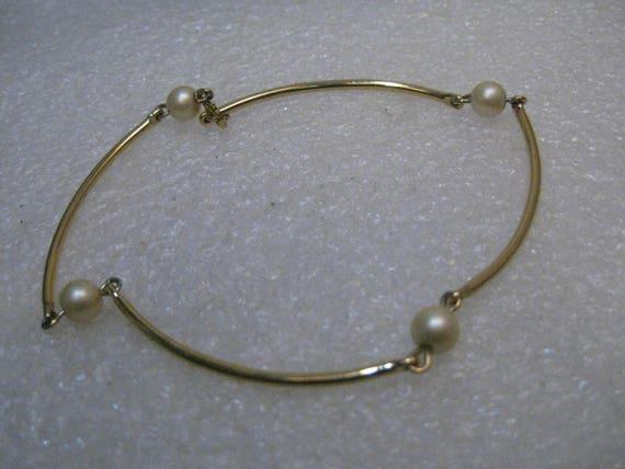 """Vintage 12kt G.F. Pearl Bracelet, Curved Tube Links, 8"""", 1960's"""
