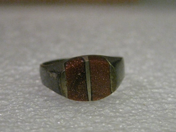 Vintage Ring, Sterling Silver Taxco, Inlaid Goldstone Ring - Mexico, Sz 7.5, 4.03 grams, signed PL