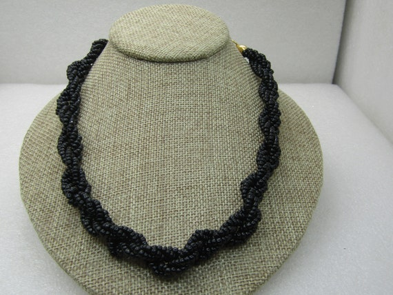 "Vintage Black Seed Bead Torsade Necklace, 20"""