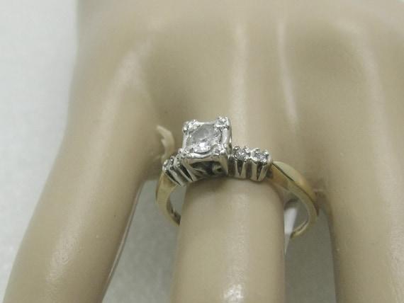 14kt Art Deco Diamond Engagement Ring,  Artcarved, size 9, .29 ctw plus, Two Tone, 1930's-1940's, 3.27gr.