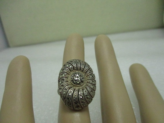 Vintage Sterling Silver German Marcasite Ring, Art Deco 1930-1940's, Size 3.5, 6.67 grams.