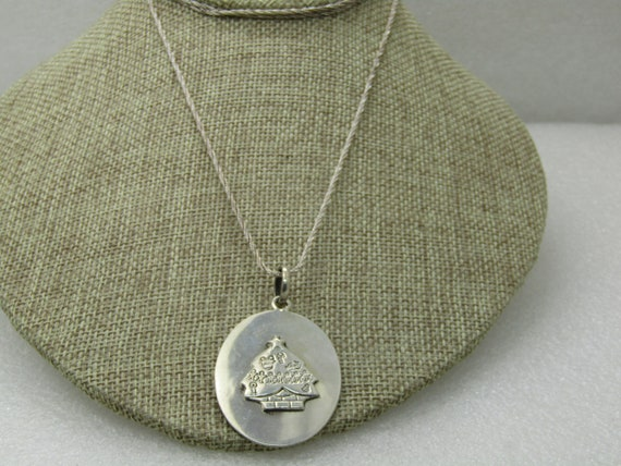 "Vintage Sterling Christmas  Tree Pendant, 34"" Chain, appx 17.68 Gr"