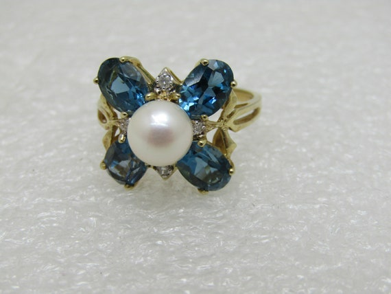 Vintage 10kt Blue Topaz Pearl Diamond Ring, Signed DR or DO, Sz. 9.25, 3.86 gr