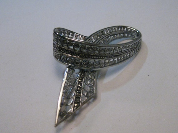 "Vintage Silver Filigree Marcasite Looped Brooch, signed FHL or C FHL, 2"", 1960's"