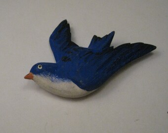 Vintage Hand Painted Blue Bird Wooden Brooch