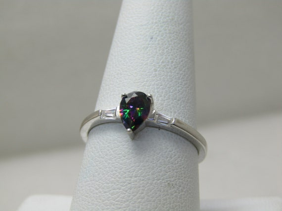 Sterling Silver Created Mystic Topaz CZ Ring, Sz. 9.5