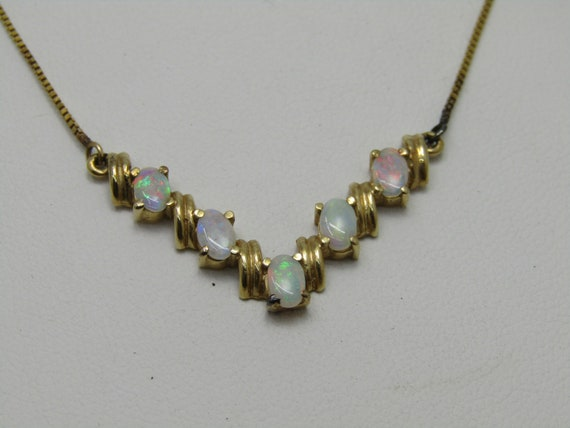 "14kt Opal Chevron Necklace, 5 Opals, 16"" Box Chain, Italy, 1980's"