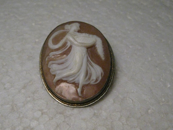 "Vintage 900 Silver Early 1900's Cameo Brooch Pendant, Carved, 1.25"", 5.29 grams"