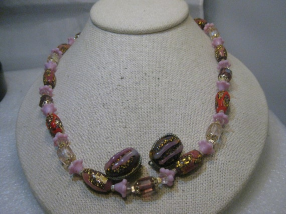 "Vintage Japanese Foiled Beaded Necklace & Earrings Set,  24"" - Rare Lampwork,  Mid-Century"