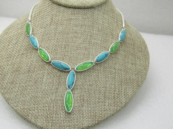 Vintage Monet Southwestern Faux Turquoise Necklace, Faux Green Amber, Drop 22""