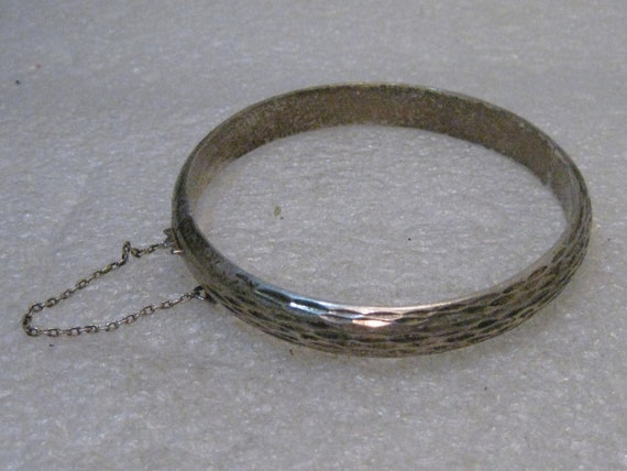 "Vintage Sterling Hinged Bracelet, Safety Chain, 7"", 13.11 grams, 9mm, 1960's-1970's"