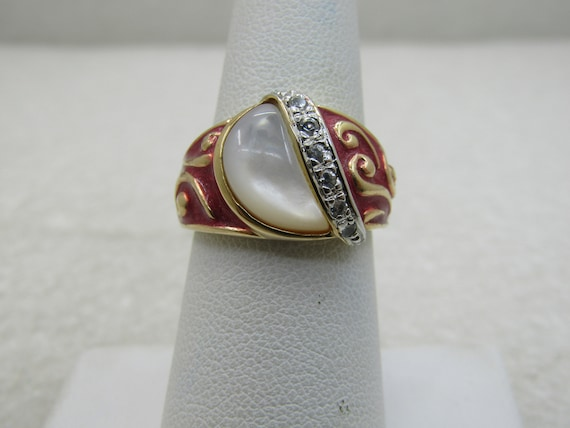 Sterling Red Mother-of-Pearl Goldwashed Ring, CZ Accents, Two-Tone, Sz . 7,