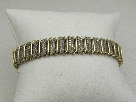 Vintage 10kt Diamond Tennis Bracelet, Signed Jafa, 10.5mm Wide, 518 Diamond