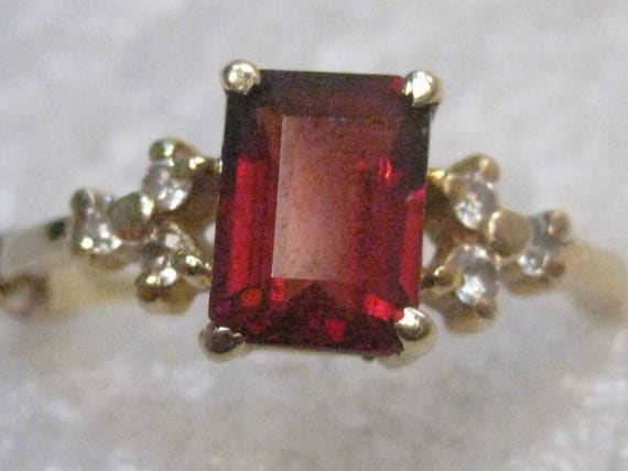 14kt Gold Garnet Diamond Ring, Emerald Cut, 1 ctw, Sz. 4.75, Signed A & Z