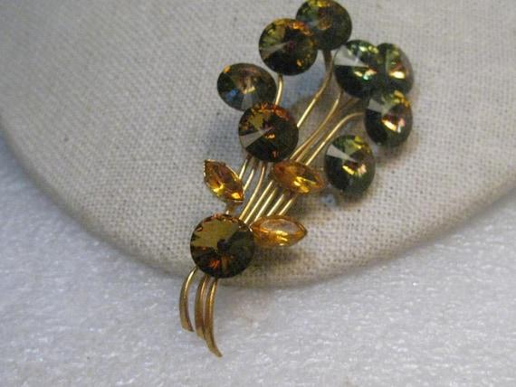 "Vintage Green Rivoli Floral Brooch, Stem, 2.75"", Amber Marquis Leaves, 1940's-1950's"