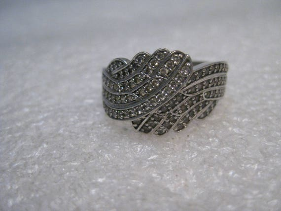 Sterling Silver Bypass CZ Ring, size 9.5, 13mm wide, 1980's 6.42gr.