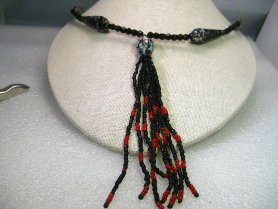 Vintage Black Mottled Cut Glass Beaded Necklace with Tassel, 17.5""