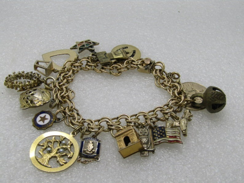 318e85c918400 Vintage 12kt G.F. Elco Charm Bracelet, 10kt too, 17 Charms, 10kt Gold with  diamond, Sterling and G.F., 7