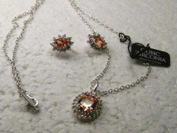 Vintage Sterling Silver Necklace and Pierced Stud Earring Set, Peach Color Cubic Zirconia, Wedding/Bridesmaids, boxed