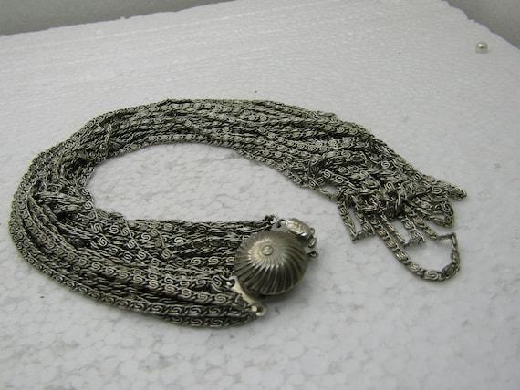 "Vintage 15 Strand Bent Link Necklace, Box Clasp, 22""."