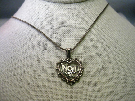 "Vintage Sterling Silver Heart Mom Pendant and Necklace, 26"", 6.25 grams"