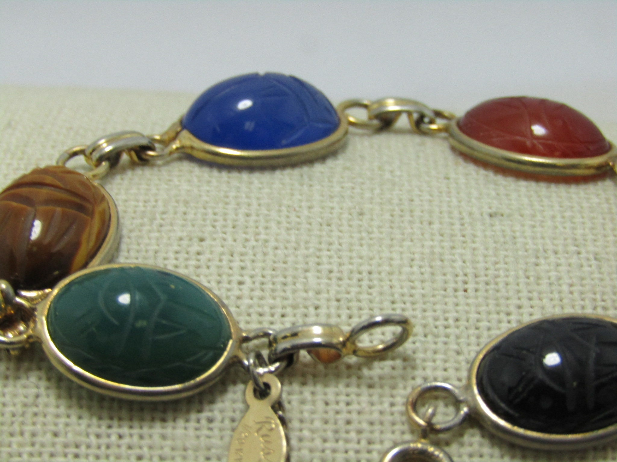 Vintage 12kt. G.F. Scarab Bracelet, signed Russel, Unakite, tiger's eye,  onyx, chrysoprase, carnelian, Safety Chain, 7.5