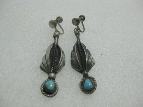"Vintage Southwestern Sterling Turquoise Earrings, Screw Back, 1950's-1960's, 2.25"", 11.34 grams"
