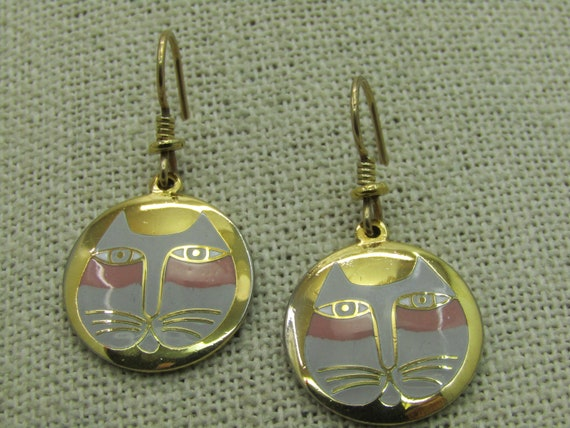 Vintage Laurel Burch Moon Cat Earrings, Enameled Gray/Pink