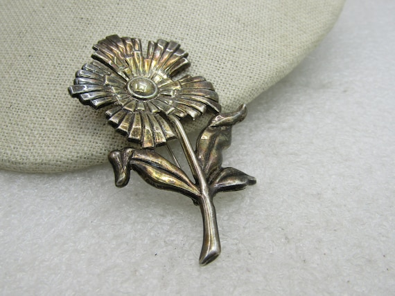 "Vintage Sterling Floral Stem Brooch, 2.75"", Signed SB, (LET)"