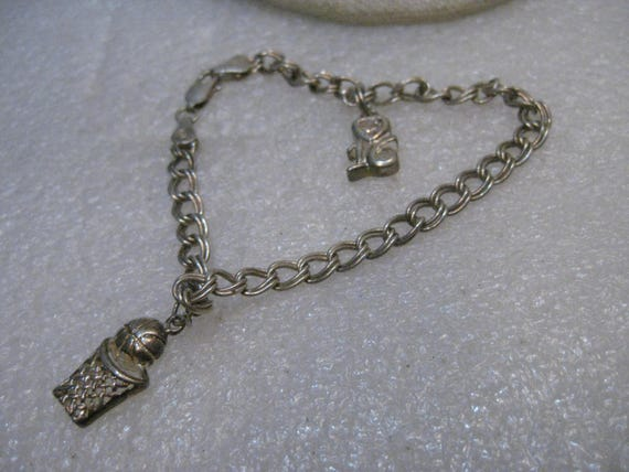 "Vintage Sterling Silver Charm Bracelet, 2 Charms, 7.5"", 5mm wide, Y Italy"