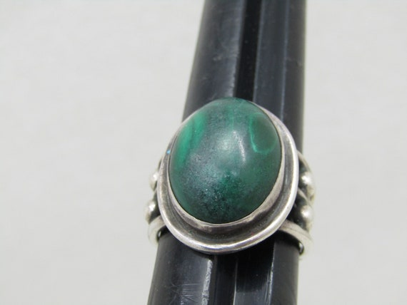 Vintage Sterling Southwestern Malachite Ring, Multi-Band, Size 7.25, 8.09gr, 1960's, 1970's