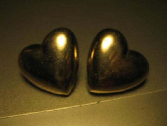Vintgage Silvertone Heart Pierced Earrings