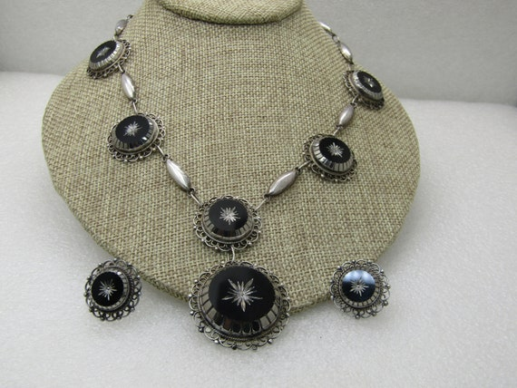 Vintage Sterling Obsidian Glass Carved Necklace Set, Screw Back Earrings, Guadalaraja, 18""