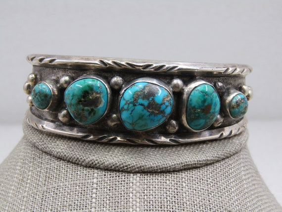 "Vintage Southwestern Sterling Turquoise Nugget Cuff Bracelet, 7.5"""