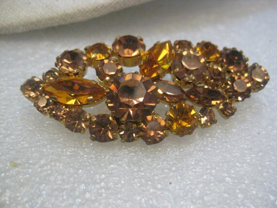 Vintage Gold Tone Austrian Brooch, Amber Crystal/Rhinestone Cateye Shaped