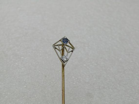"Early 18kt & Platinum Sapphire Diamond Stick Pin 2.5"", 1.35 gr"