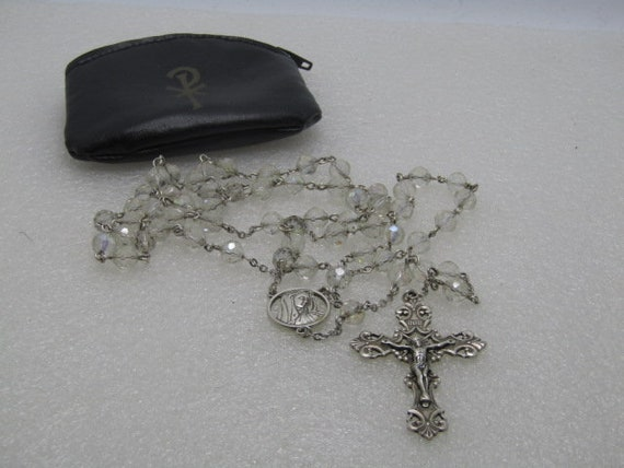 "Vintage Sterling Silver Aurora Borealis Rosary, 26"", Ornate Cross, 1950's in black zipper pouch"