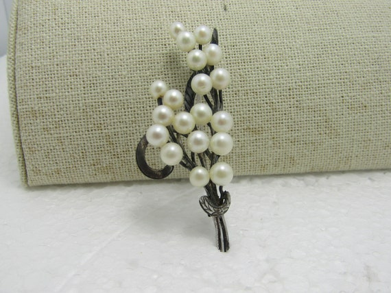 "Vintage Sterling Silver Pearl Brooch, 2.75""Long, 11.17 Grams, 1940's-1950's"