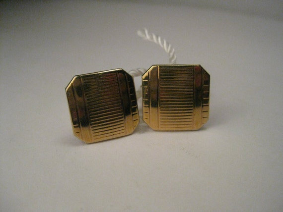 Vintage Swank Art Deco Unisex Goldtone Square Cuff Links with cut corners, stamped design, Mid-Century